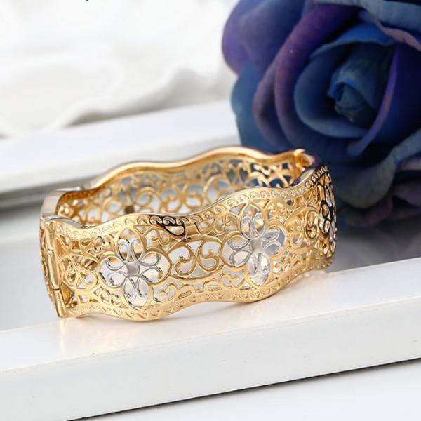 Flower Filigree Gold Plated Bangle