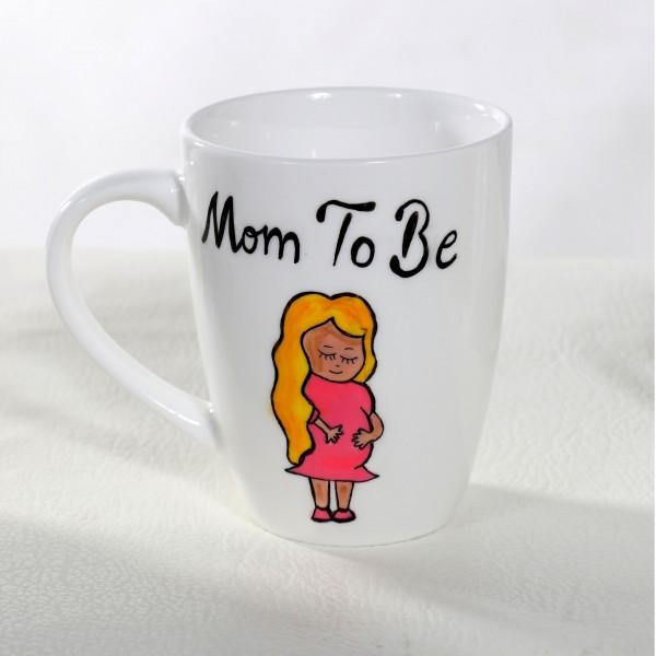 Mom to Be Hand-Painted Mug