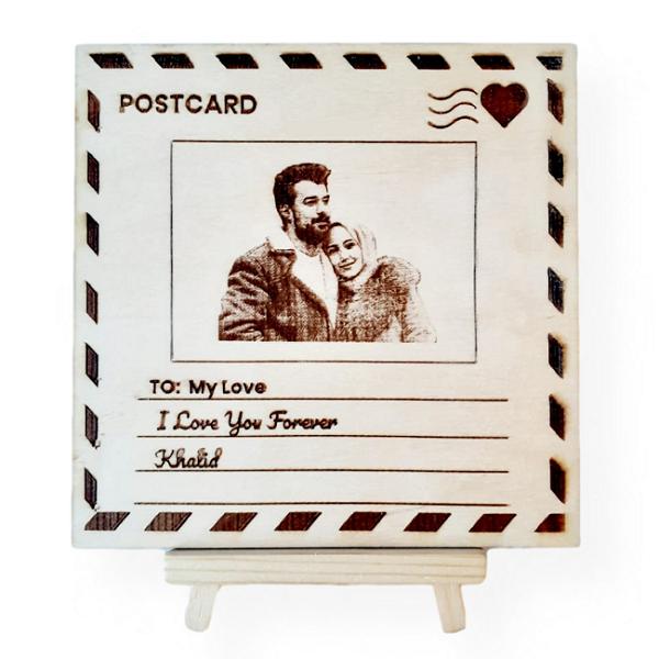 Engraved Wooden Postcard