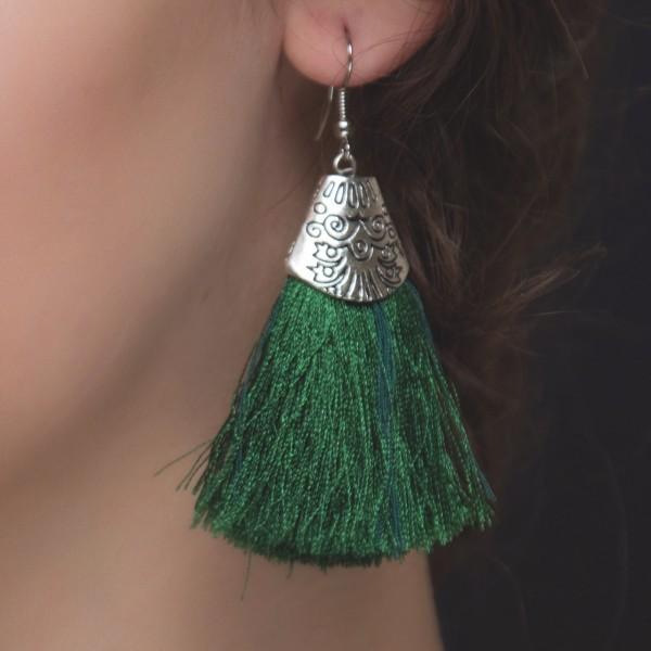 Handmade Tassel Earrings-Green