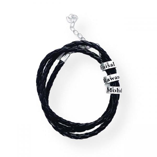 Men's Braided Rings Leather Bracelet