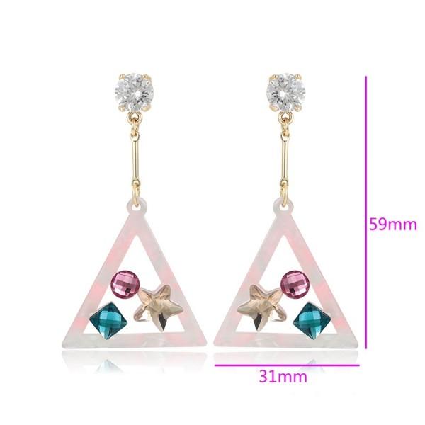 Mutlicolored Crystal Earrings - Pink