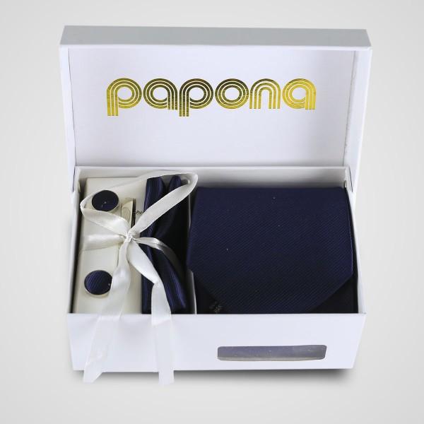 papona Striped Necktie Set - Midnight Blue