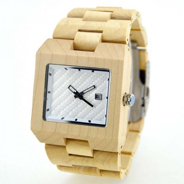 Men's Natural Wood Watch - Beige & White