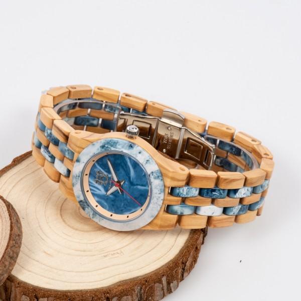Natural Wood & Marble Watch For Ladies - Beige & Blue