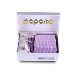 papona Checkered Necktie Set - Lilac