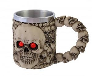 Skull Mug with Red Eyes