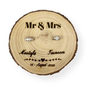 Engraved Rings Holder Tree Slice
