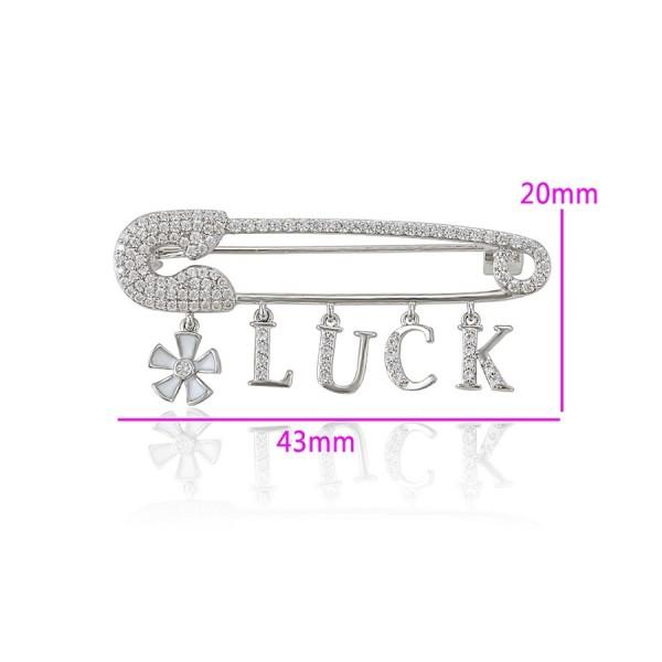 Rhodium Plated Luck Pin Brooch