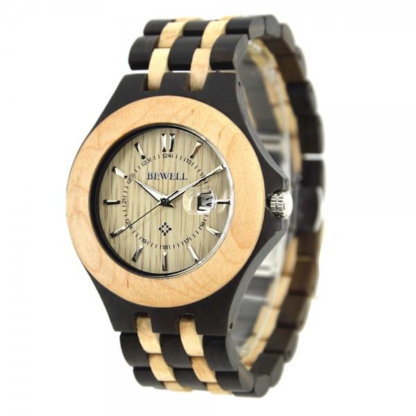 Men's Natural Wood Watch - Beige & Black