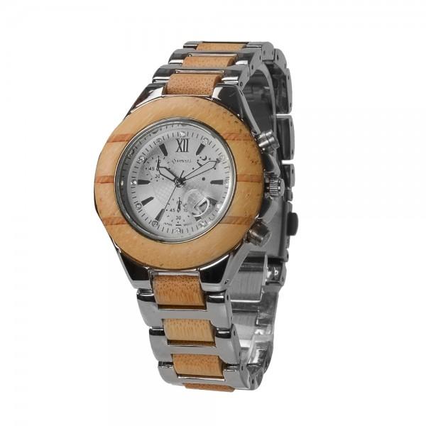 Ladies' Natural Wood Watch - Beige & Silver