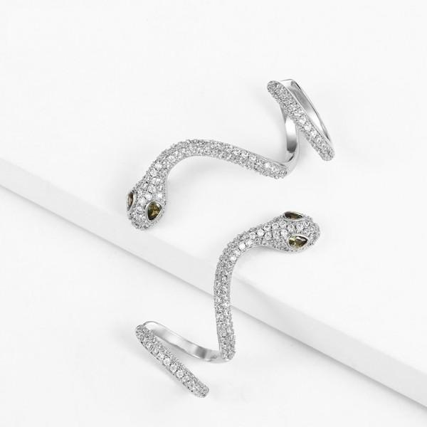 Rhodium Plated Snake Earrings