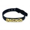 Black Mesh Knot Belt Bangle - Gold Plated
