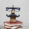 Wooden Nose Eyeglass Holder with Mustache