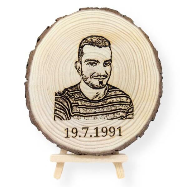 Engraved Photo Tree Slice