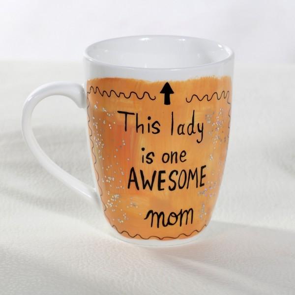Awesome Mom Hand-Painted Mug