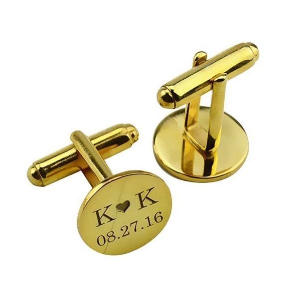 ِEngraved Gold Plated Cufflinks Set