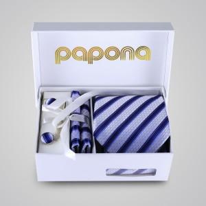 papona Striped Necktie Set - Navy & Ivory