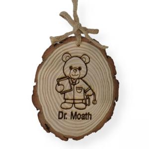 Doctor Bear Engraved Tree Slice