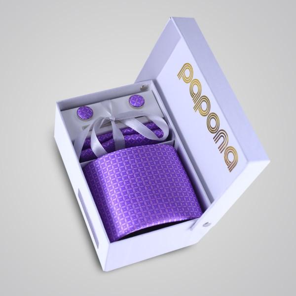 papona Checkered Necktie Set - Purple