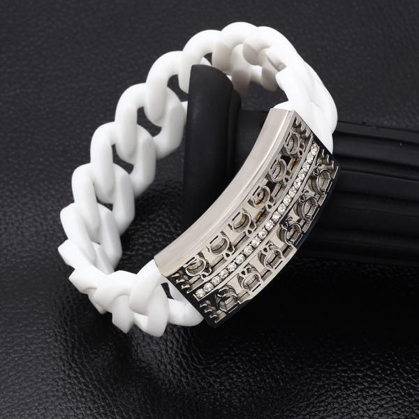 Stretchable Chain Bangle-White