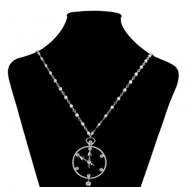 Rhodium Plated Clock Necklace