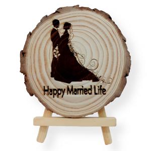 Bride & Groom Tree Engraved Slice