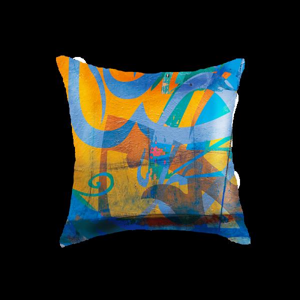 Arabic Calligraphy Cushion Cover - Blue & Yellow