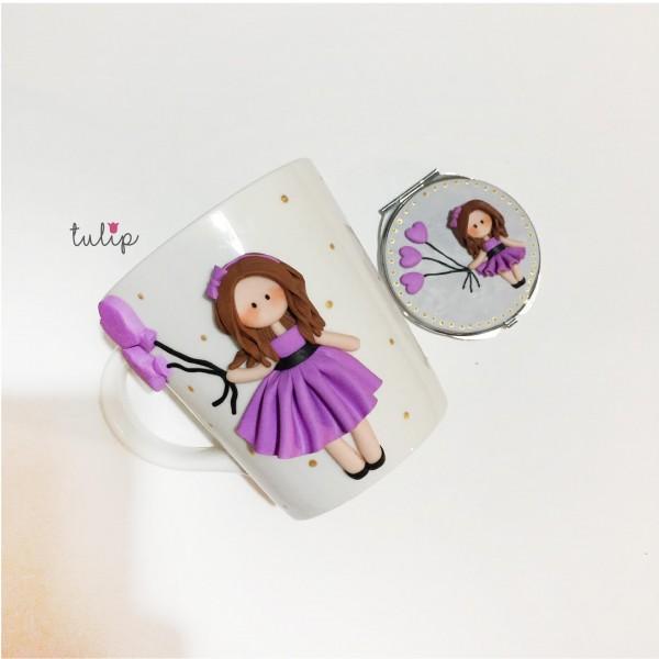 Balloon Girl Set of Mug & Pocket Mirror - Purple