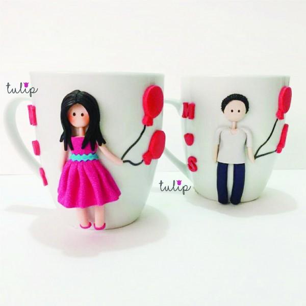 Set of 2 Balloon Girl & Guy Mugs