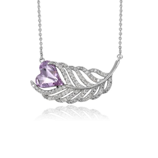 Swarovski Encrusted Heart Leaf Necklace-Purple