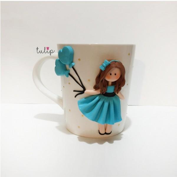Balloon Girl Set of Mug & Pocket Mirror - Blue
