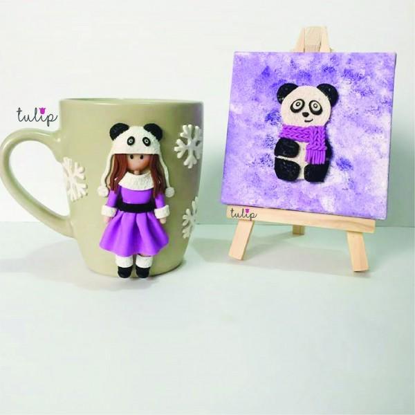 Panda & Girl Set of Mug & Canvas Art