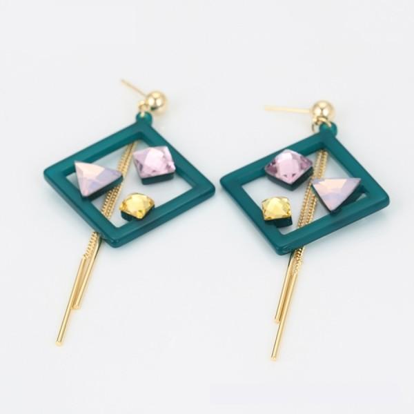 Mutlicolored Crystal Earrings - Green