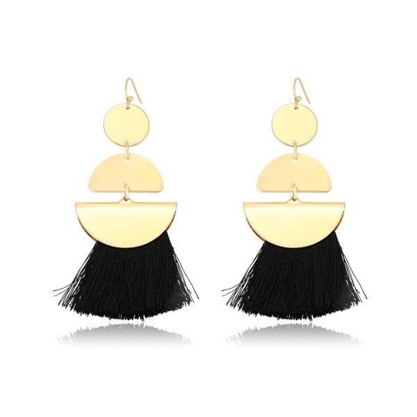Gold Plated Tassel Earrings - Black