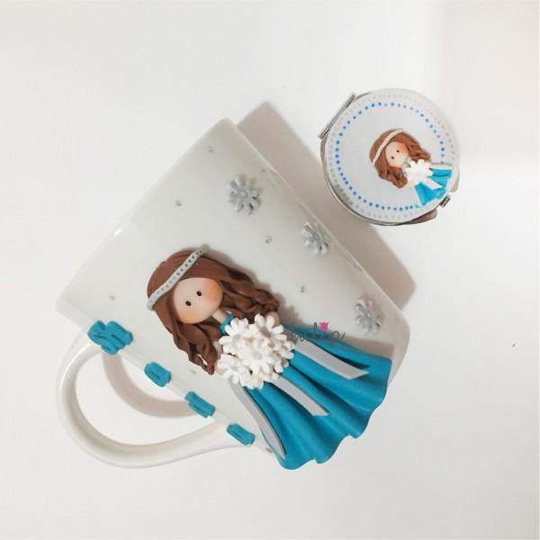 Bride Set of Mug & Pocket Mirror - Blue