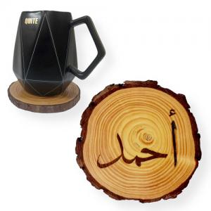 Name Engraved Tree Slice Coaster