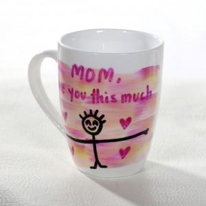 Mom I Love You Hand-Painted Mug