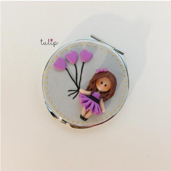 Balloon Girl Pocket Mirror - Purple