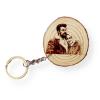 Photo Engraved Wood Slice Keychain