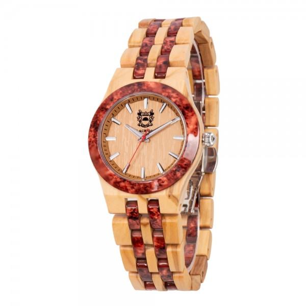 Natural Wood & Marble Watch For Ladies - Beige & Brown
