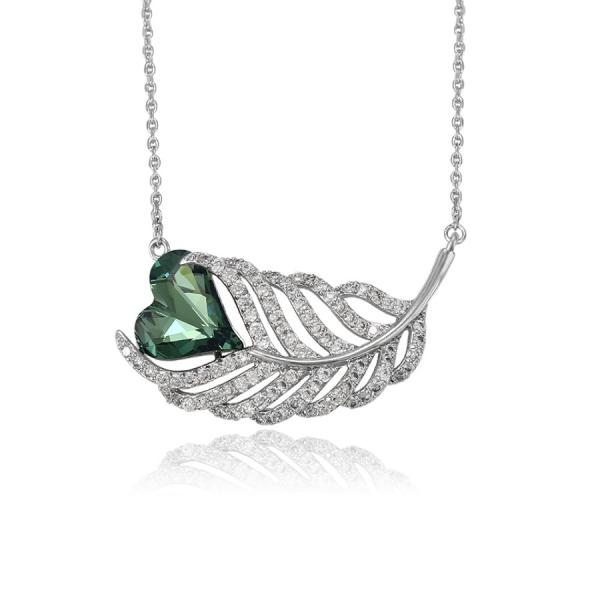 Swarovski Encrusted Heart Leaf Necklace-Green