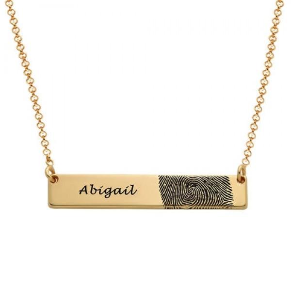 Gold Plated Fingerprint Bar Necklace