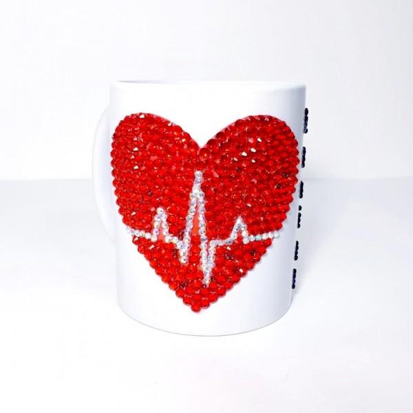 Crystals Encrusted Heart Mug