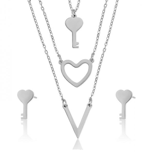 Heart Key Necklace & Earrings Set - Silver