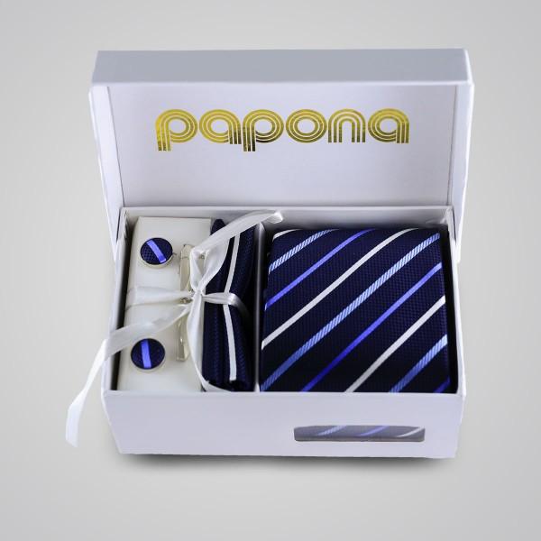 papona Striped Necktie Set - Navy & Blue