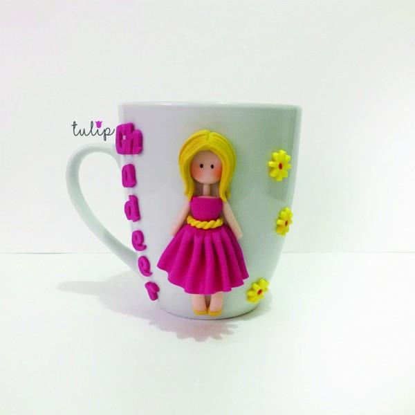 Blonde Girl Mug - Fuchsia