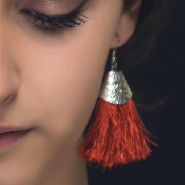 Handmade Tassel Earrings-Brick