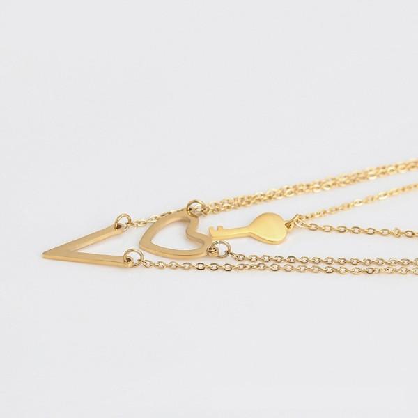 Heart Key Necklace & Earrings Set - Gold