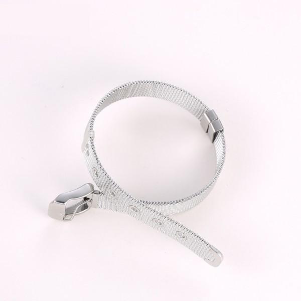 Stainless Steel Mesh Belt Bracelet - Silver